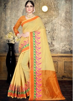 Gripping Yellow Woven Cotton Classic Saree