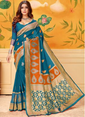 Groovy Cotton Firozi Print Casual Saree