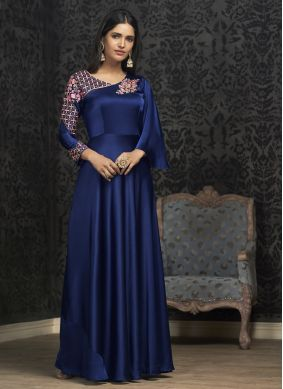Groovy Embroidered Blue Readymade Gown