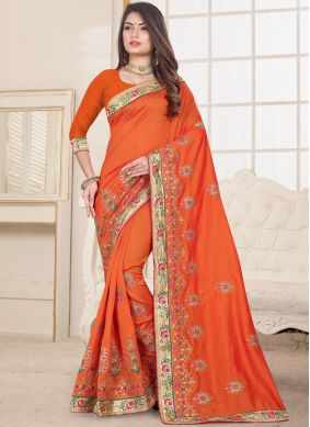 Groovy Embroidered Fancy Fabric Designer Traditional Saree