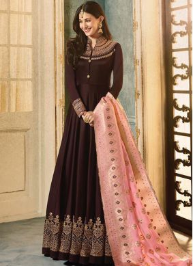 Groovy Faux Georgette Brown Floor Length Anarkali Suit