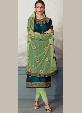Groovy Green Embroidered Georgette Satin Pant Style Suit