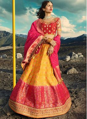 Groovy Hot Pink and Yellow Bridal Lehenga Choli