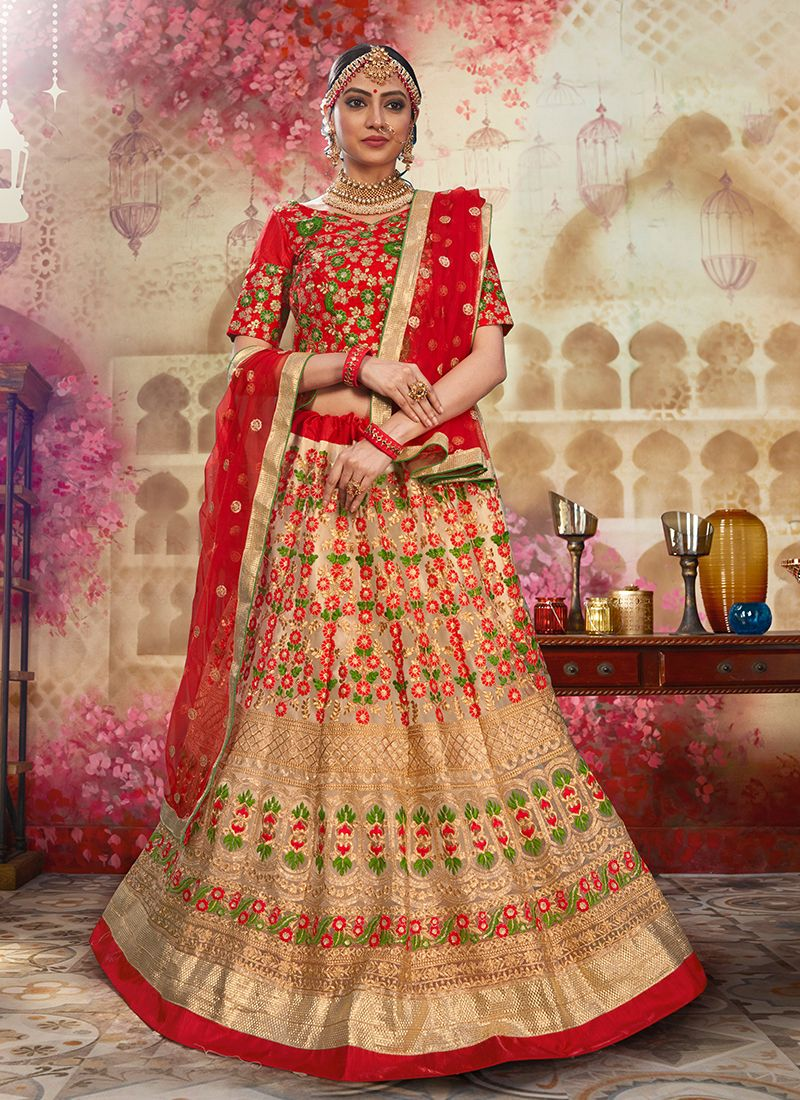 Groovy Resham Beige and Red Net Lehenga Choli