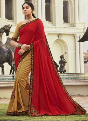 Half N Half  Saree Embroidered Chanderi in Beige and Red