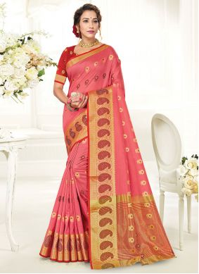 Handloom Cotton Woven Traditional Saree in Pink