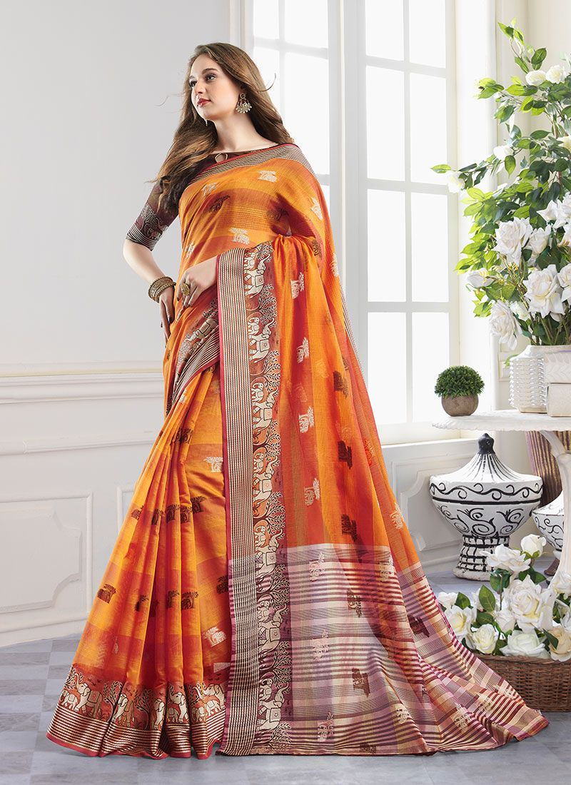 Handloom Cotton Zari Orange Designer Saree