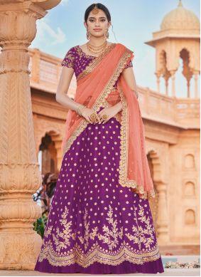 Handloom silk Embroidered Wine Bollywood Lehenga Choli