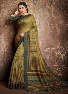 Handloom silk Green Digital Print Classic Saree