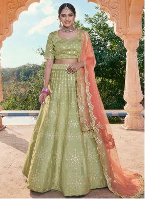 Handloom silk Green Mirror A Line Lehenga Choli
