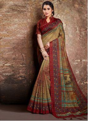 Handloom silk Multi Colour Classic Designer Saree