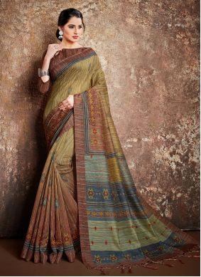 Handloom silk Multi Colour Digital Print Classic Designer Saree