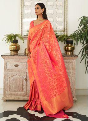 Handloom silk Orange Weaving Contemporary Saree