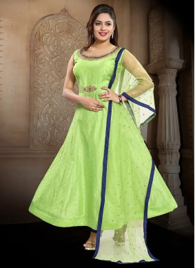 Handwork Chanderi Anarkali Salwar Kameez in Green