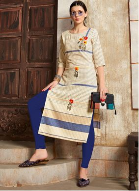 Handwork Cotton Designer Kurti in Cream