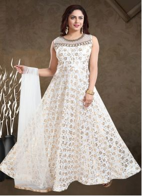 Off White Handwork Faux Georgette Readymade Gown