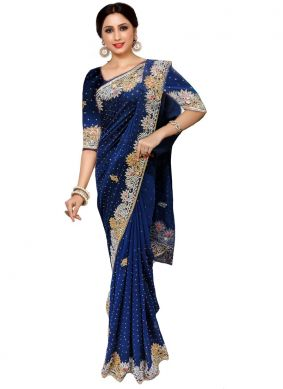 Handwork Faux Georgette Traditional Saree