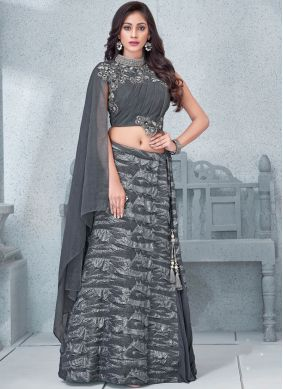 Handwork Lycra Lehenga Choli in Grey