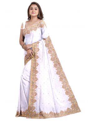 Handwork Off White Georgette Designer Saree