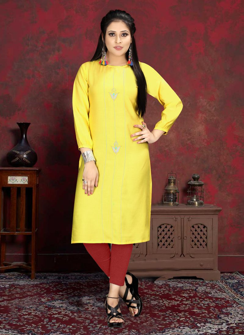 Yellow Handwork Rayon Casual Kurti