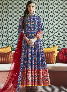 Handwork Silk Anarkali Suit in Blue