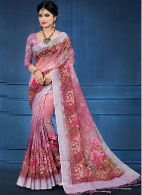 Haute Linen Abstract Print Printed Saree