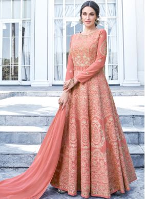 Heavenly Embroidered Faux Georgette Peach Floor Length Anarkali Suit