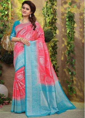 Heavenly Fancy Fabric Weaving Pink Designer Traditional Saree