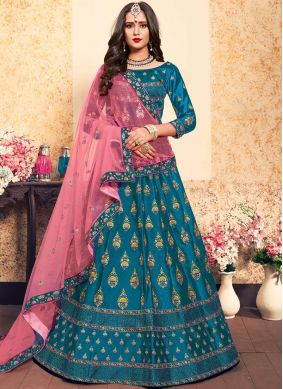 Heavenly Stone Satin Blue Trendy Lehenga Choli