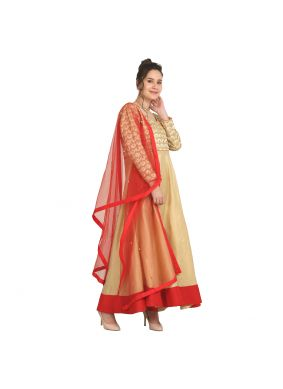 Heavenly Viscose Machine Embroidery  Red Party Wear Kurti