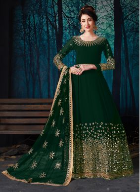 Honourable Green Faux Georgette Desinger Anarkali Suit