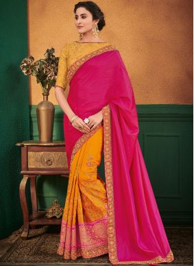 Hot Pink and Yellow Festival Designer Half N Half Saree