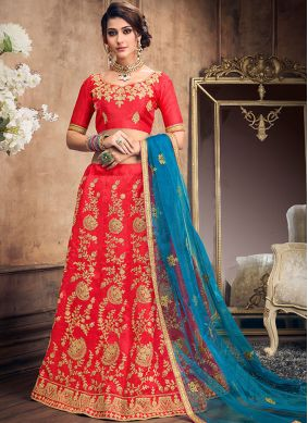 Hot Pink Art Silk Resham Lehenga Choli