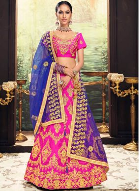 Hot Pink Banglori Silk Embroidered Lehenga Choli