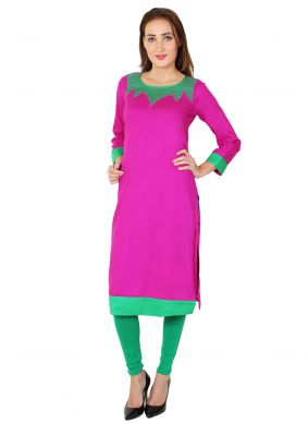 Hot Pink Color Party Wear Kurti