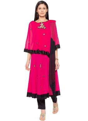 Hot Pink Color Readymade Suit