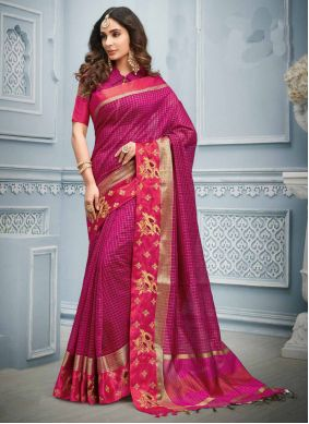 Hot Pink Cotton Festival Trendy Saree