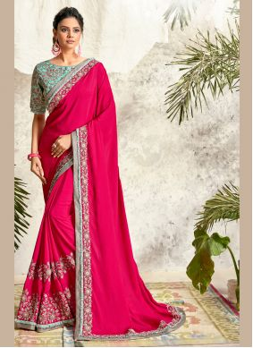 Hot Pink Crepe Silk Embroidered Traditional Saree