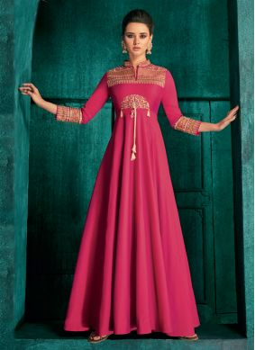 Hot Pink Embroidered Art Silk Readymade Gown