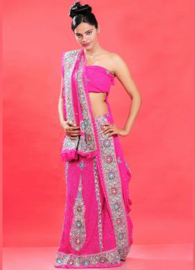 Hot Pink Embroidered Bridal Lehenga Choli