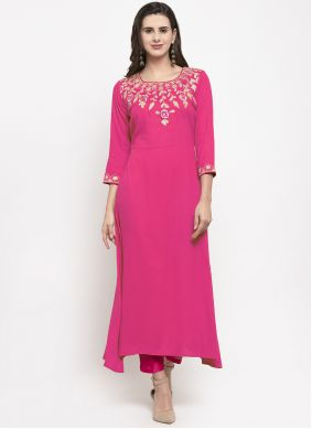 Hot Pink Embroidered Party Wear Kurti