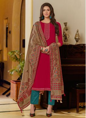 Hot Pink Embroidered Reception Designer Pakistani Suit