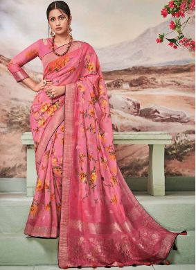 Hot Pink Fancy Fabric Ceremonial Traditional Saree