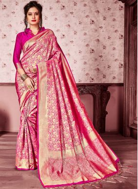 Hot Pink Festival Art Silk Classic Saree