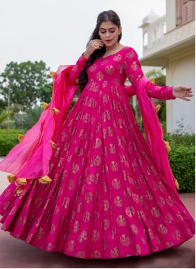 Hot Pink Festival Readymade Suit