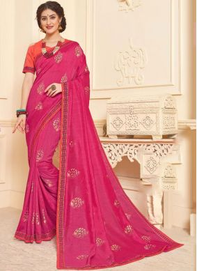 Hot Pink Foil print Mehndi Trendy Saree