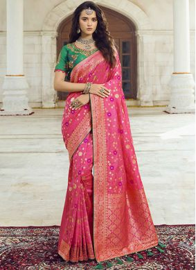 Hot Pink Jacquard Silk Embroidered Traditional Saree