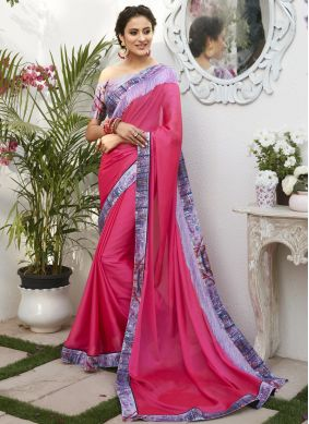 Hot Pink Patch Border Faux Chiffon Classic Designer Saree