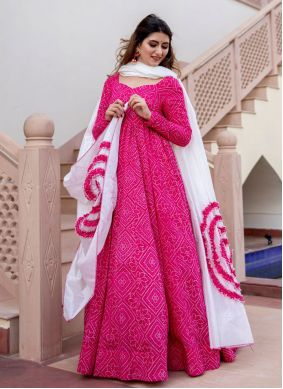 Hot Pink Print Readymade Suit