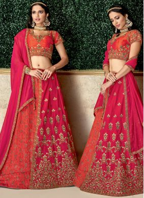Hot Pink Raw Silk Embroidered Lehenga Choli